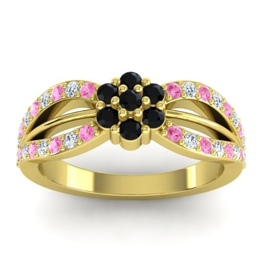 Simple Floral Pave Kalikda Black Onyx Ring with Diamond and Pink Tourmaline in 14k Yellow Gold