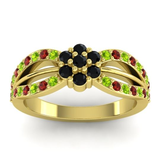 Simple Floral Pave Kalikda Black Onyx Ring with Garnet and Peridot in 18k Yellow Gold