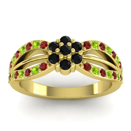 Simple Floral Pave Kalikda Black Onyx Ring with Peridot and Garnet in 18k Yellow Gold