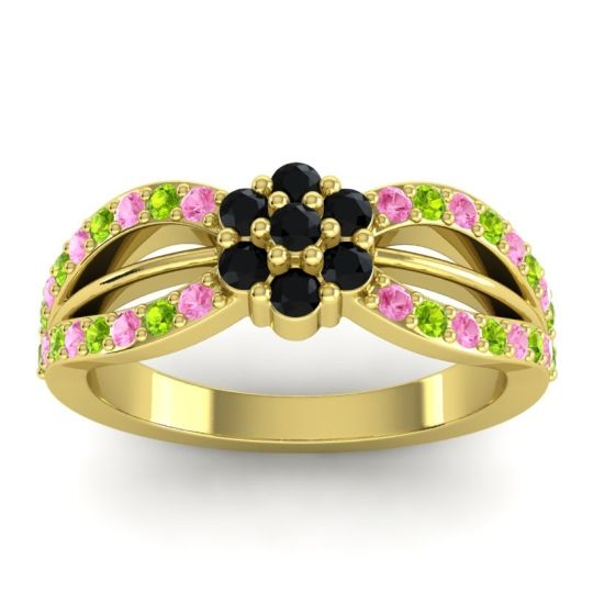 Simple Floral Pave Kalikda Black Onyx Ring with Peridot and Pink Tourmaline in 14k Yellow Gold