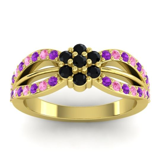 Simple Floral Pave Kalikda Black Onyx Ring with Pink Tourmaline and Amethyst in 18k Yellow Gold