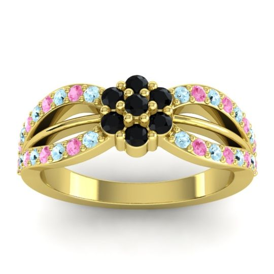 Simple Floral Pave Kalikda Black Onyx Ring with Pink Tourmaline and Aquamarine in 18k Yellow Gold
