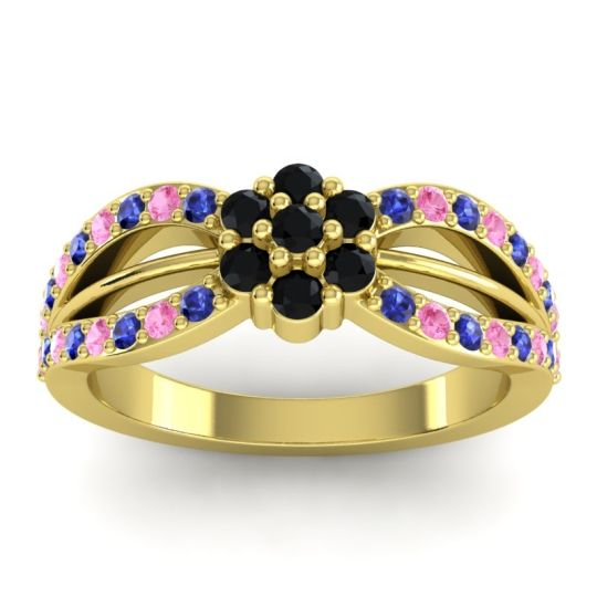 Simple Floral Pave Kalikda Black Onyx Ring with Pink Tourmaline and Blue Sapphire in 18k Yellow Gold