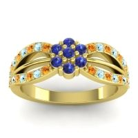 Simple Floral Pave Kalikda Blue Sapphire Ring with Aquamarine and Citrine in 18k Yellow Gold