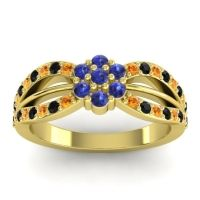Simple Floral Pave Kalikda Blue Sapphire Ring with Black Onyx and Citrine in 14k Yellow Gold