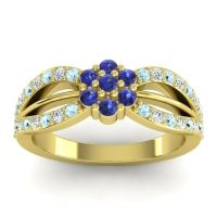 Simple Floral Pave Kalikda Blue Sapphire Ring with Diamond and Aquamarine in 18k Yellow Gold