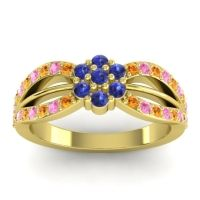 Simple Floral Pave Kalikda Blue Sapphire Ring with Pink Tourmaline and Citrine in 14k Yellow Gold
