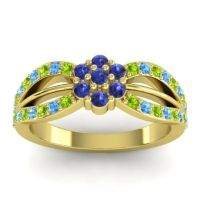Simple Floral Pave Kalikda Blue Sapphire Ring with Swiss Blue Topaz and Peridot in 14k Yellow Gold