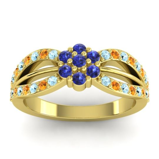 Simple Floral Pave Kalikda Blue Sapphire Ring with Citrine and Aquamarine in 18k Yellow Gold
