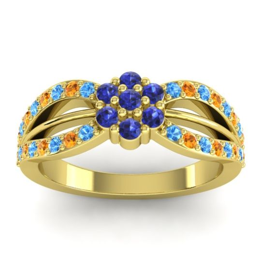 Simple Floral Pave Kalikda Blue Sapphire Ring with Citrine and Swiss Blue Topaz in 18k Yellow Gold