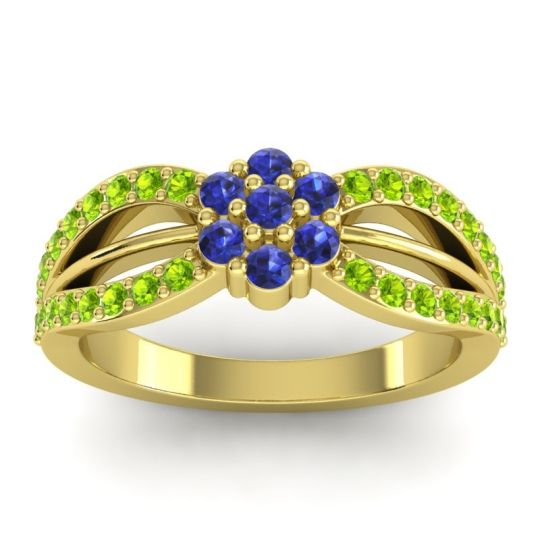 Simple Floral Pave Kalikda Blue Sapphire Ring with Peridot in 14k Yellow Gold