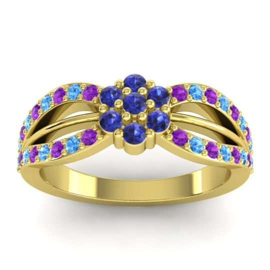 Simple Floral Pave Kalikda Blue Sapphire Ring with Swiss Blue Topaz and Amethyst in 18k Yellow Gold