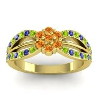 Simple Floral Pave Kalikda Citrine Ring with Blue Sapphire and Peridot in 14k Yellow Gold