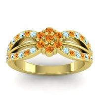Simple Floral Pave Kalikda Citrine Ring with Aquamarine in 18k Yellow Gold