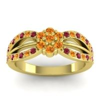 Simple Floral Pave Kalikda Citrine Ring with Ruby in 18k Yellow Gold