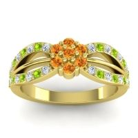 Simple Floral Pave Kalikda Citrine Ring with Peridot and Diamond in 14k Yellow Gold