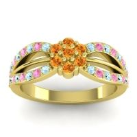 Simple Floral Pave Kalikda Citrine Ring with Pink Tourmaline and Aquamarine in 18k Yellow Gold