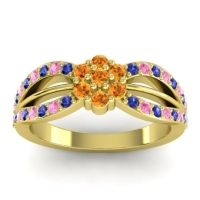 Simple Floral Pave Kalikda Citrine Ring with Pink Tourmaline and Blue Sapphire in 18k Yellow Gold