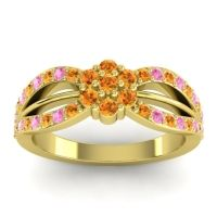 Simple Floral Pave Kalikda Citrine Ring with Pink Tourmaline in 14k Yellow Gold