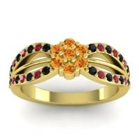 Simple Floral Pave Kalikda Citrine Ring with Ruby and Black Onyx in 14k Yellow Gold