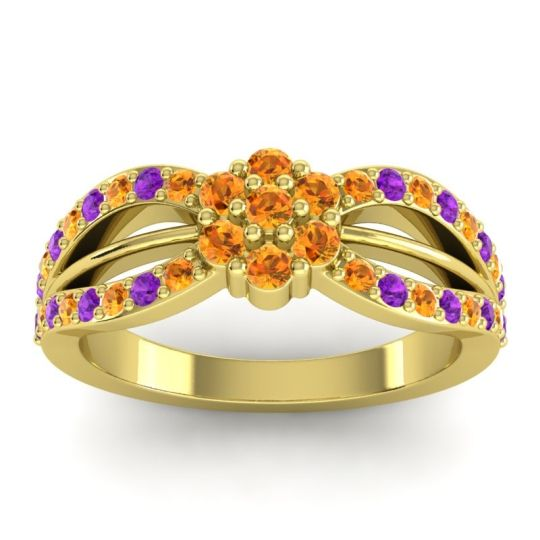 Simple Floral Pave Kalikda Citrine Ring with Amethyst in 14k Yellow Gold