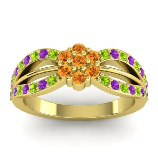 Simple Floral Pave Kalikda Citrine Ring with Amethyst and Peridot in 14k Yellow Gold