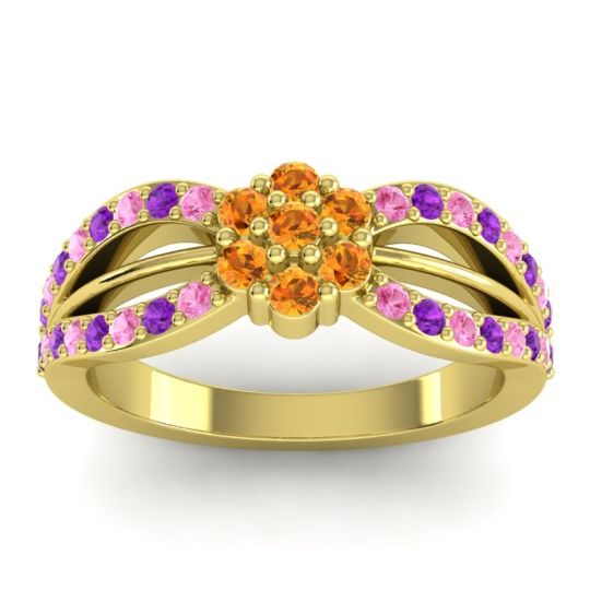 Simple Floral Pave Kalikda Citrine Ring with Amethyst and Pink Tourmaline in 14k Yellow Gold