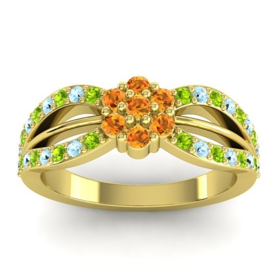 Simple Floral Pave Kalikda Citrine Ring with Aquamarine and Peridot in 14k Yellow Gold
