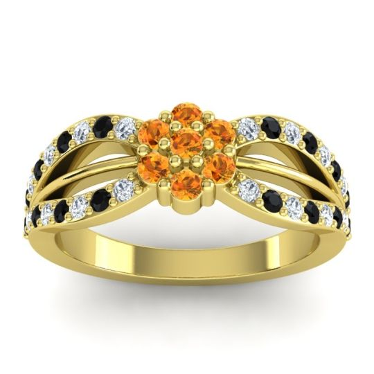 Simple Floral Pave Kalikda Citrine Ring with Black Onyx and Diamond in 14k Yellow Gold