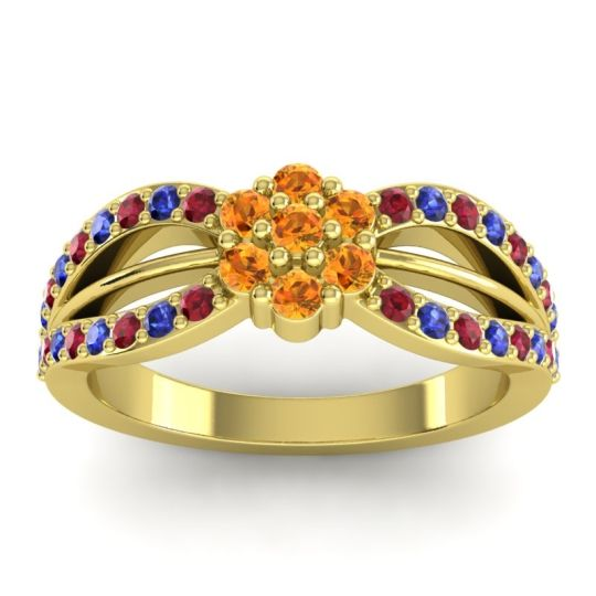 Simple Floral Pave Kalikda Citrine Ring with Blue Sapphire and Ruby in 14k Yellow Gold