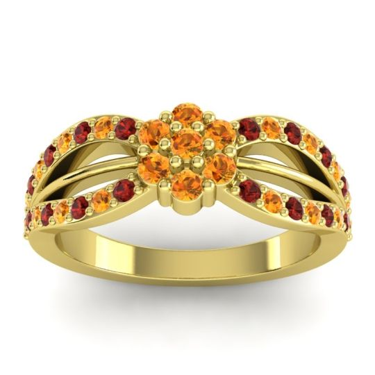 Simple Floral Pave Kalikda Citrine Ring with Garnet in 14k Yellow Gold