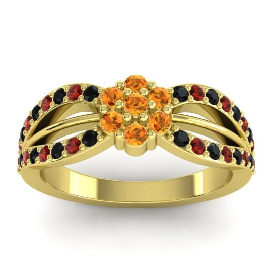 Simple Floral Pave Kalikda Citrine Ring with Garnet and Black Onyx in 14k Yellow Gold