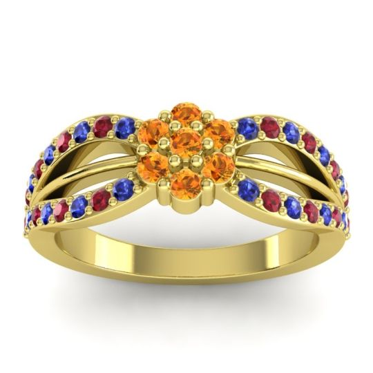 Simple Floral Pave Kalikda Citrine Ring with Ruby and Blue Sapphire in 14k Yellow Gold