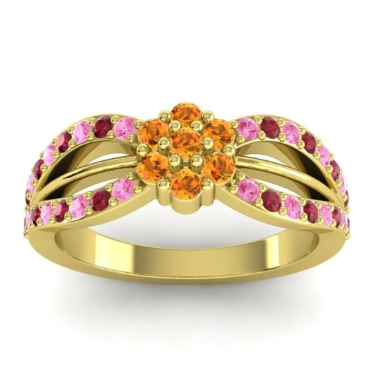 Simple Floral Pave Kalikda Citrine Ring with Ruby and Pink Tourmaline in 14k Yellow Gold