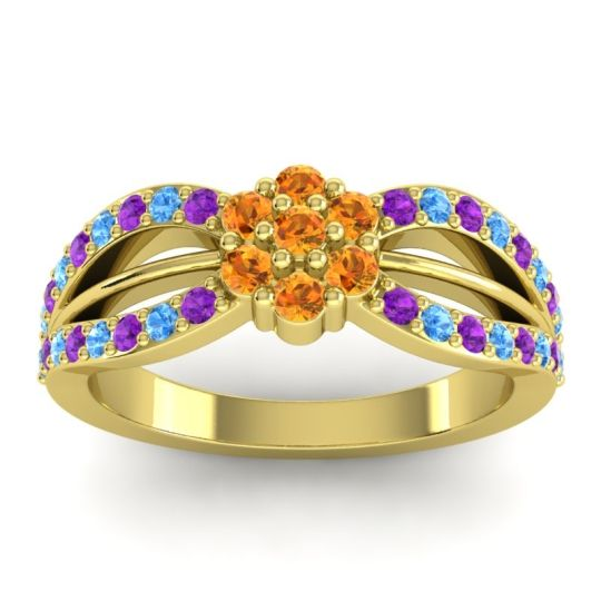 Simple Floral Pave Kalikda Citrine Ring with Swiss Blue Topaz and Amethyst in 14k Yellow Gold