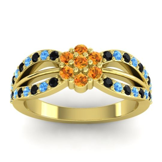 Simple Floral Pave Kalikda Citrine Ring with Swiss Blue Topaz and Black Onyx in 14k Yellow Gold