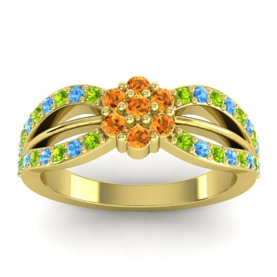 Simple Floral Pave Kalikda Citrine Ring with Swiss Blue Topaz and Peridot in 14k Yellow Gold