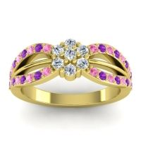 Simple Floral Pave Kalikda Diamond Ring with Amethyst and Pink Tourmaline in 14k Yellow Gold