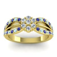 Simple Floral Pave Kalikda Diamond Ring with Aquamarine and Blue Sapphire in 14k Yellow Gold