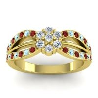 Simple Floral Pave Kalikda Diamond Ring with Aquamarine and Garnet in 14k Yellow Gold