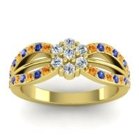Simple Floral Pave Kalikda Diamond Ring with Blue Sapphire and Citrine in 14k Yellow Gold