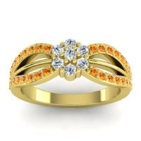 Simple Floral Pave Kalikda Diamond Ring with Citrine in 18k Yellow Gold