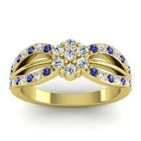Simple Floral Pave Kalikda Diamond Ring with Blue Sapphire in 14k Yellow Gold