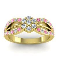 Simple Floral Pave Kalikda Diamond Ring with Pink Tourmaline in 18k Yellow Gold