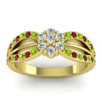 Simple Floral Pave Kalikda Diamond Ring with Garnet and Peridot in 14k Yellow Gold