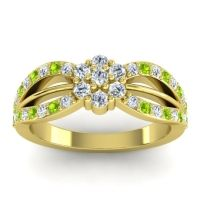 Simple Floral Pave Kalikda Diamond Ring with Peridot in 14k Yellow Gold