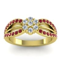 Simple Floral Pave Kalikda Diamond Ring with Ruby in 18k Yellow Gold