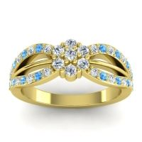 Simple Floral Pave Kalikda Diamond Ring with Swiss Blue Topaz in 14k Yellow Gold
