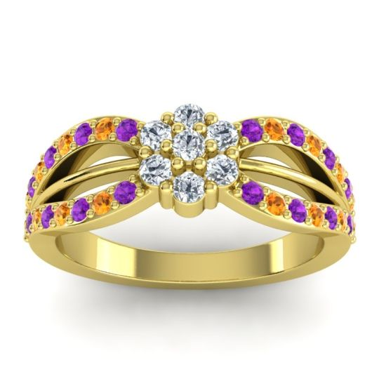 Simple Floral Pave Kalikda Diamond Ring with Citrine and Amethyst in 18k Yellow Gold
