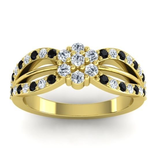 Simple Floral Pave Kalikda Diamond Ring with Black Onyx in 18k Yellow Gold